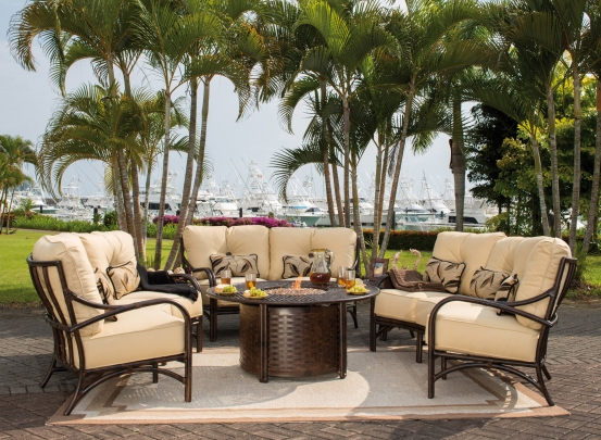 Crescent Deep Seating from Sundance Collection by Pride Family Brands around a Castelle luxury Fire Pit.