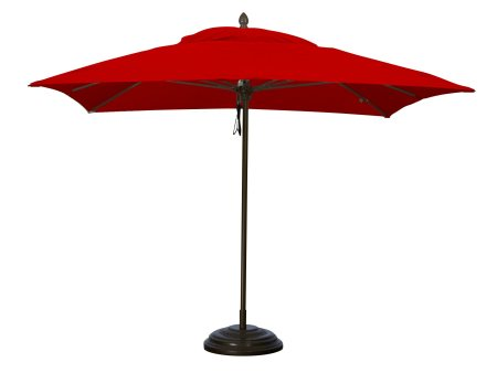 FiberBuilt Umbrellas' 10-foot square Riva Umbrella in Logo Red Sunbrella fabric