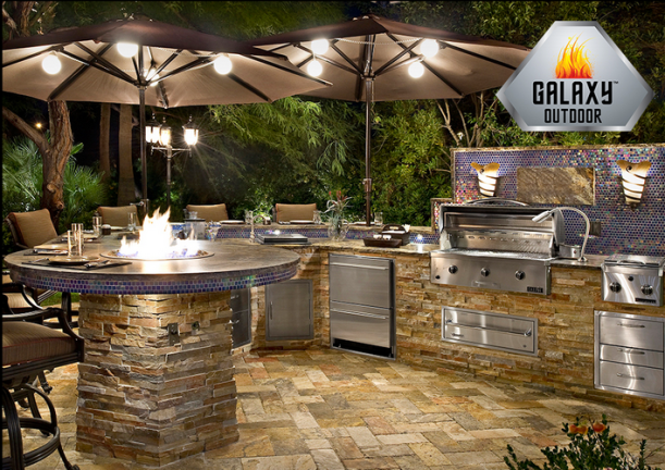 Bar-height firepit by Galaxy Outdoors