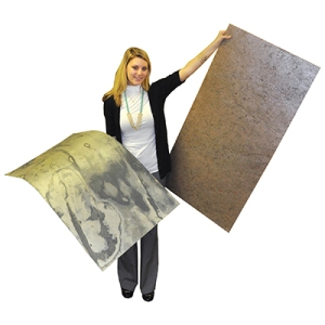 The slate product comes in 2x4-foot sheets and is available in different colors.