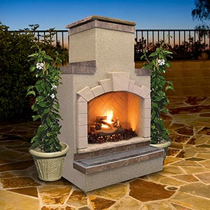 The Cal Flame FRP908 Outdoor Fireplace is made with a 16-gauge galvanized steel frame.