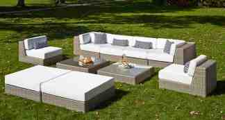 The Leisure Design Mission Sectional collection adds ambiance to outdoor living.