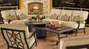 The Bellagio Collection includes cast legs and hammered curving arms.