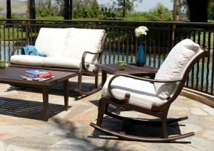 The Celaya Rocker features a contemporary design.