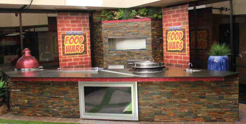 Galaxy Outdoor built an outdoor kitchen area for a series of Fox 5 News studio cooking segments.