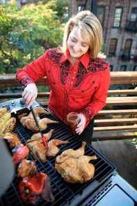 Elizabeth Karmel at the grill.