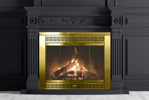 Empty classic interior of a room with fireplace over black wall